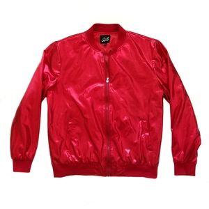 Mens Jogal Red Metallic Bomber Jacket XL